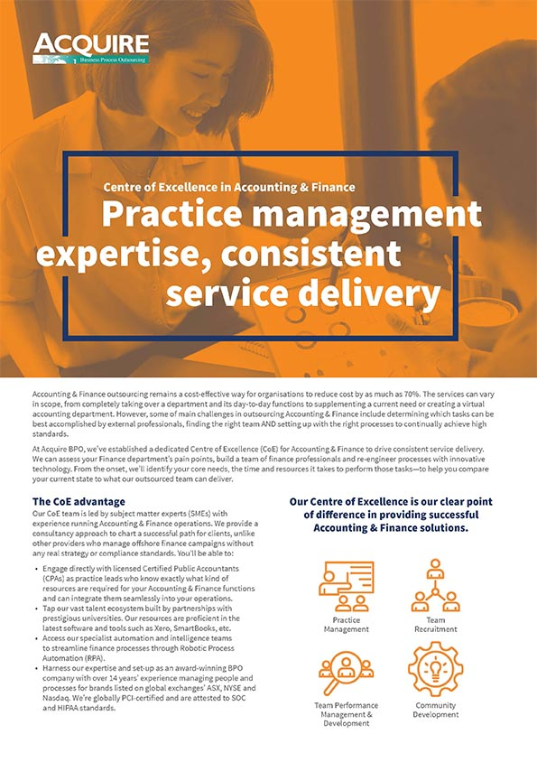 Accounting & Finance practice management expertise