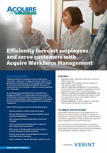 Efficiently forecast employees and service customers with Acquire Workforce Management